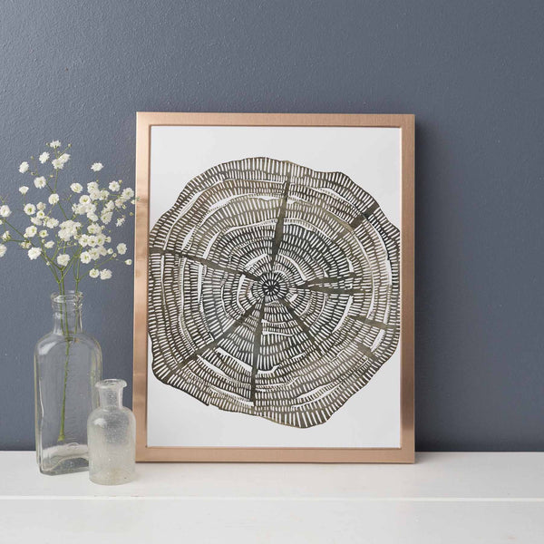 Modern Tree Ring Growth Forest Watercolor Wall Art Print or Canvas - Jetty Home