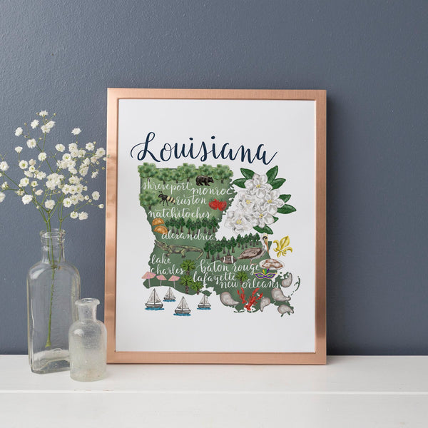 Louisiana State Map Art Print - Jetty Home