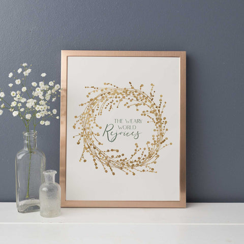 The Weary World Rejoices Gold and Cream Christmas Wall Art Print or Canvas - Jetty Home
