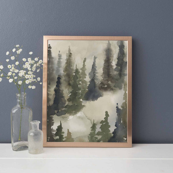 Evergreen Ethereal Tree Line Watercolor Wall Art Print or Canvas - Jetty Home