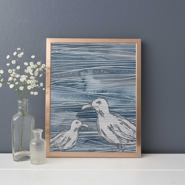 Nautical Abstract Blue Sea Gull Modern Coastal Wall Art Print or Canvas - Jetty Home