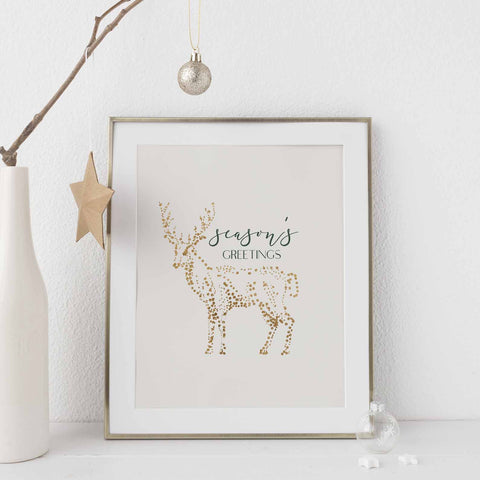 Season's Greetings Gold and Cream Christmas Wall Art Print or Canvas - Jetty Home