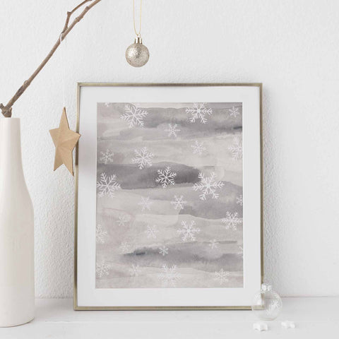 Snowflake Abstract Gray Watercolor Winter Wall Art Print or Canvas - Jetty Home