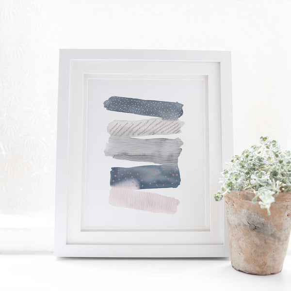 Modern Abstract Watercolor Stripes Trendy Wall Art Print or Canvas - Jetty Home