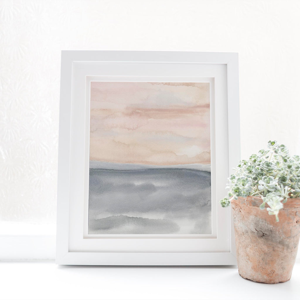 Modern Watercolor Painting Blush and Slate Art Print or Canvas - Jetty Home