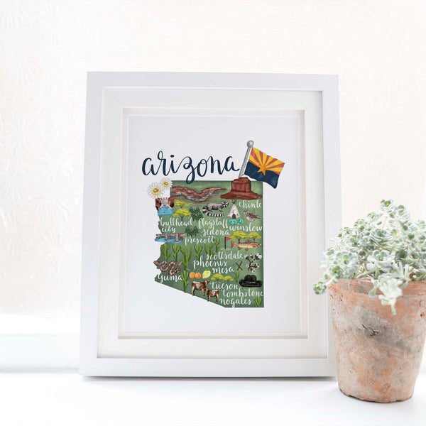 Arizona State Map Art Print - Jetty Home