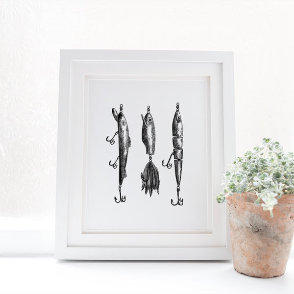 Black + White Fly Fishing Lures Illustration Art Print or Canvas - Jetty Home