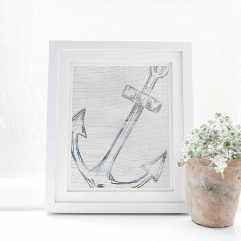 Modern Anchor Nautical Watercolor Coastal Wall Art Print or Canvas - Jetty Home