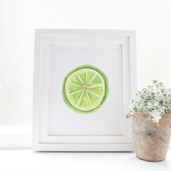 Watercolor Lime Slice Wall Art Digital Print - Jetty Home