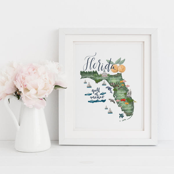 Florida State Map Art Print - Jetty Home