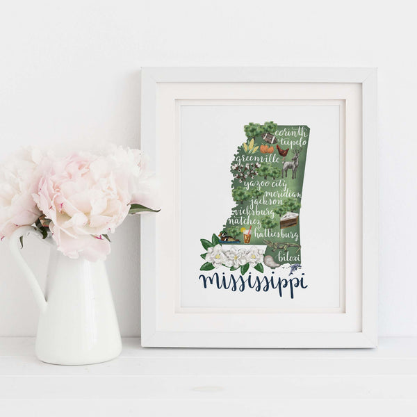 Mississippi State Map Art Print - Jetty Home