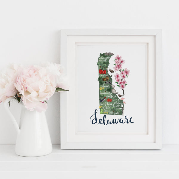 Delaware State Map Art Print - Jetty Home