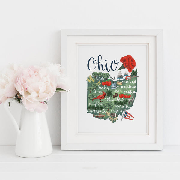 Ohio State Map Art Print - Jetty Home