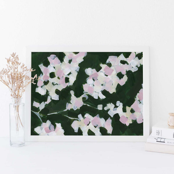 Green and Pink Cherry Blossom Floral Painting Wall Art Print or Canvas - Jetty Home