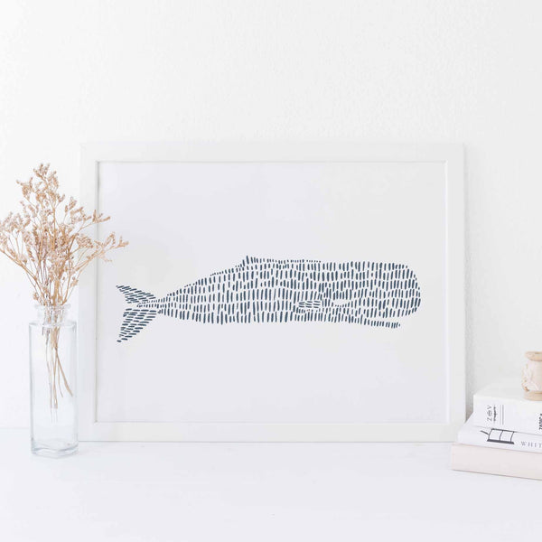 Modern Sperm Whale Drawing Minimalist Beach Wall Art Print or Canvas - Jetty Home