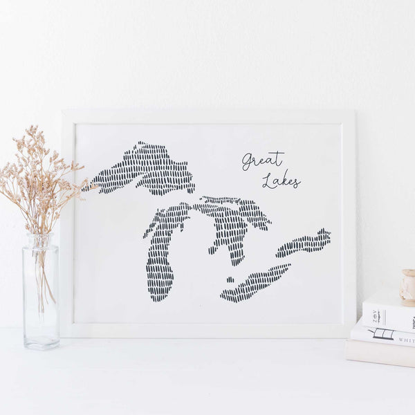 Great Lakes Modern Map Illustration Wall Art Print or Canvas - Jetty Home