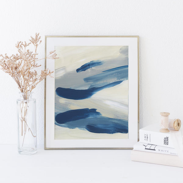 Hamptons Inspired Statement Abstract Beach Painting Wall Art Print or Canvas - Jetty Home