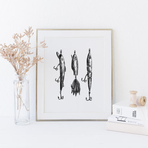 Black + White Fly Fishing Lures Illustration Art Print - Jetty Home