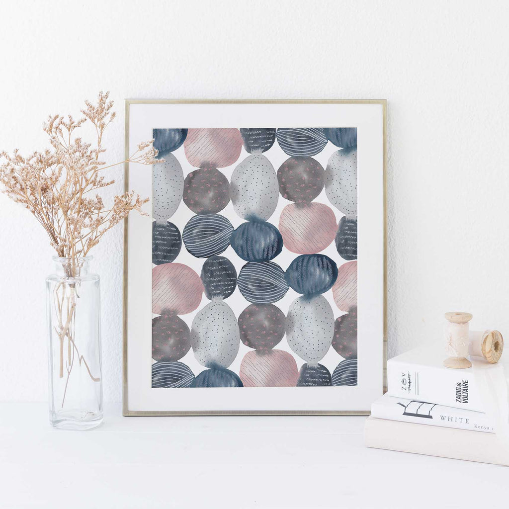 Modern Abstract Circles Blue Gray Pink Watercolor Wall Art Print or Canvas - Jetty Home
