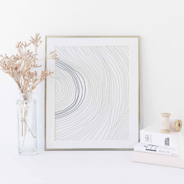 Modern Minimalist Line Illustration White Wall Art Print or Canvas - Jetty Home