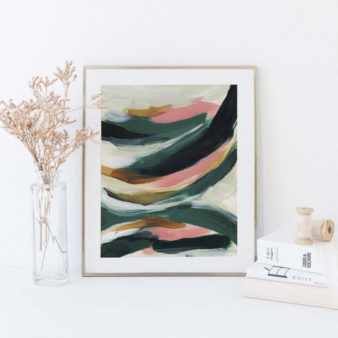 Green and Beige Abstract Modern Painting Tropical Wall Art Print or Canvas - Jetty Home
