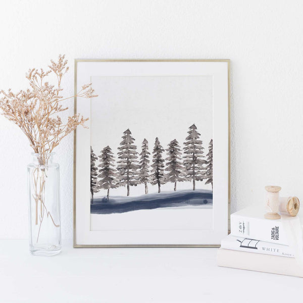Minimalist Nordic Forest Pine Tree Tops Wall Art Print - Jetty Home