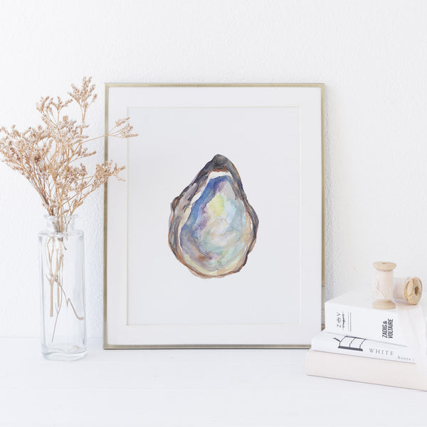 Watercolor Oyster Shell Art Print or Canvas - Jetty Home