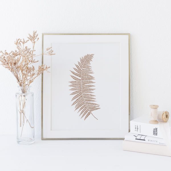 Fern Modern Botanical Minimalist Rust and White Wall Art Print or Canvas - Jetty Home