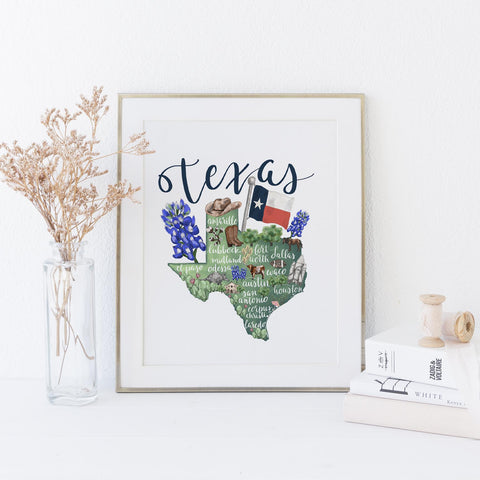Texas State Map Art Print - Jetty Home