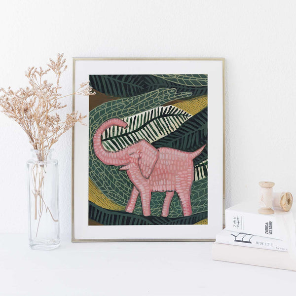 Pink Elephant Jungle Tropical Botanical Painting Wall Art Print or Canvas - Jetty Home