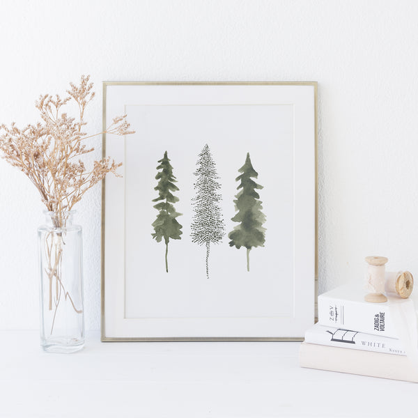 Pine Tree Trio Watercolor Mystical Forest Wall Art Print or Canvas - Jetty Home