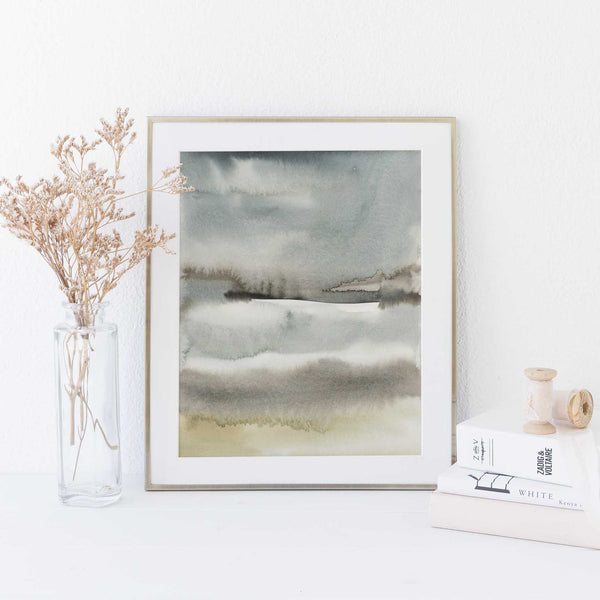 Slate and Beige Modern Landscape Lake Watercolor Wall Art Print or Canvas - Jetty Home