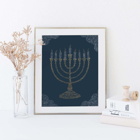 Menorah Blue and Gold Modern Hanukkah Wall Art Print or Canvas - Jetty Home
