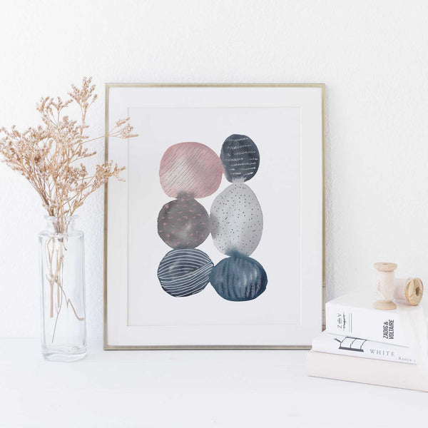 Abstract Circle Painting Blue Gray and Pink Watercolor Wall Art Print or Canvas - Jetty Home
