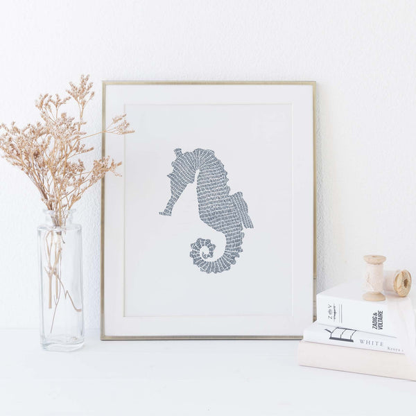 Blue Seahorse Nautical Coastal Illustration Wall Art Print or Canvas - Jetty Home