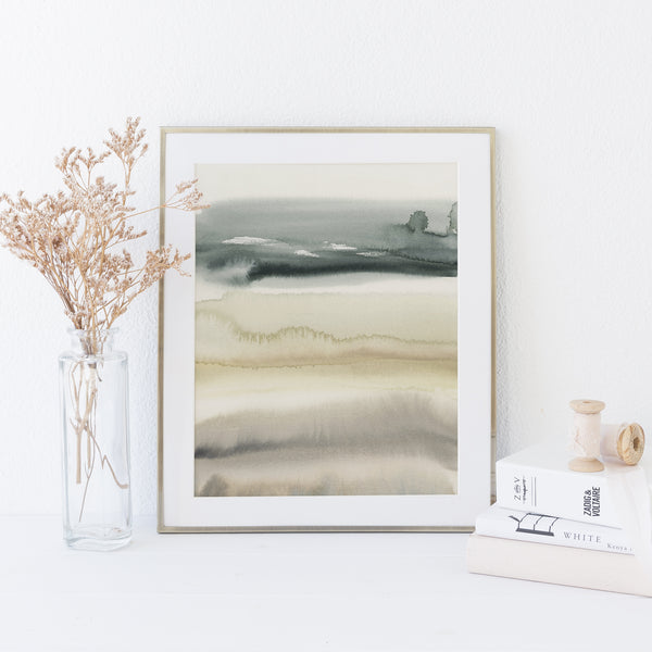 Modern Neutral Lake Landscape Painting Watercolor Wall Art Print or Canvas - Jetty Home