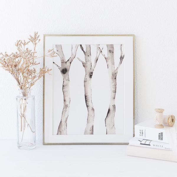 Watercolor Birch Tree Forest Wall Art Print or Canvas - Jetty Home