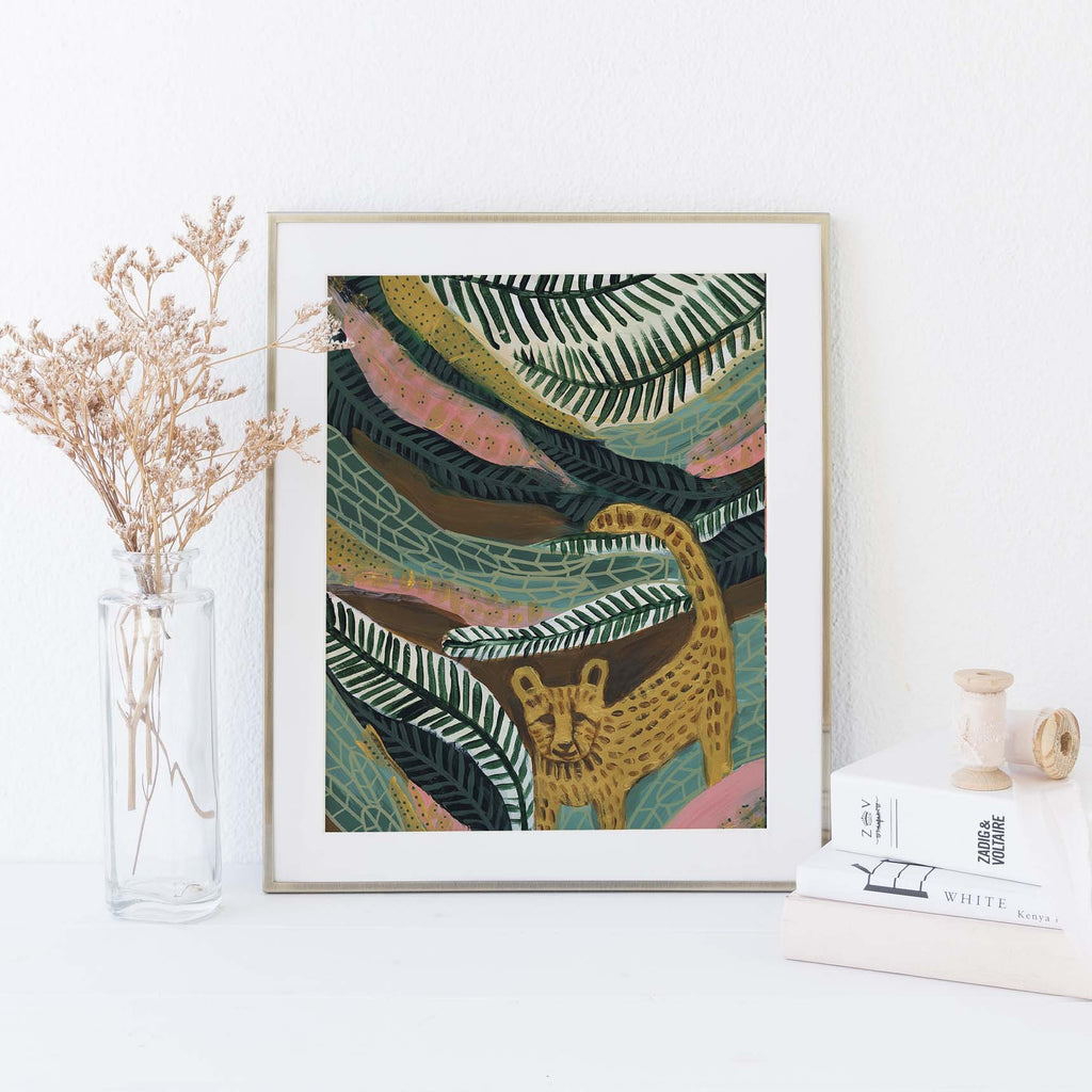 Cheetah Jungle Tropical Botanical Painting Wall Art Print or Canvas - Jetty Home