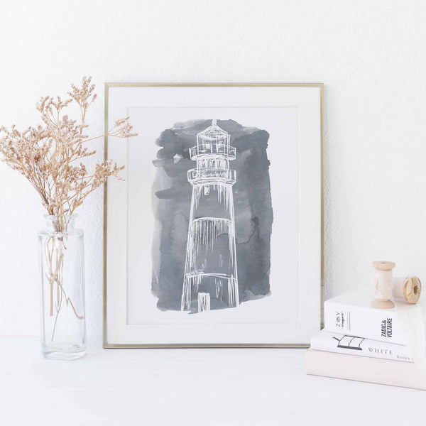 Watercolor Lighthouse Illustration Nautical Wall Art Print or Canvas - Jetty Home