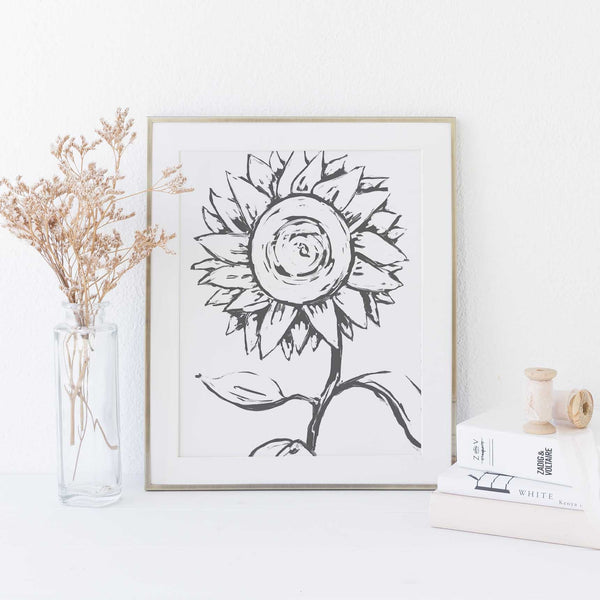 Sunflower Modern Flower Minimalist Farmhouse Country Wall Art Print or Canvas - Jetty Home