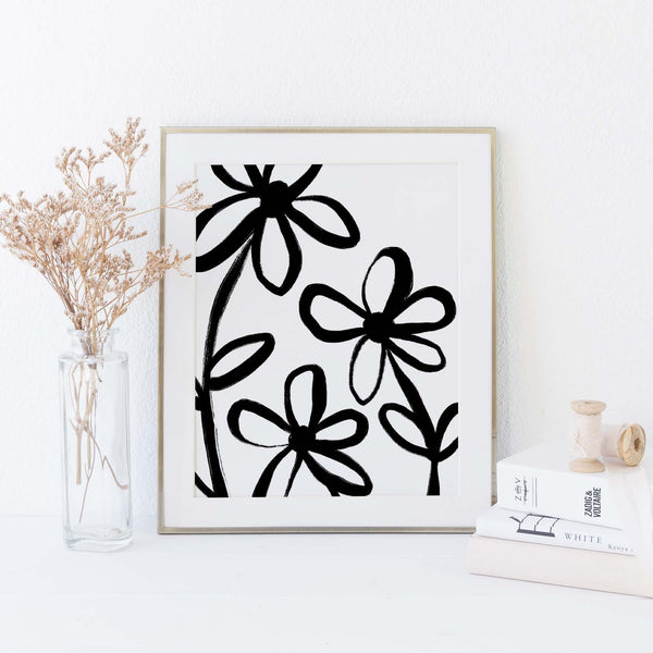 Modern Flower Black and White Botanical Wall Art Print or Canvas - Jetty Home