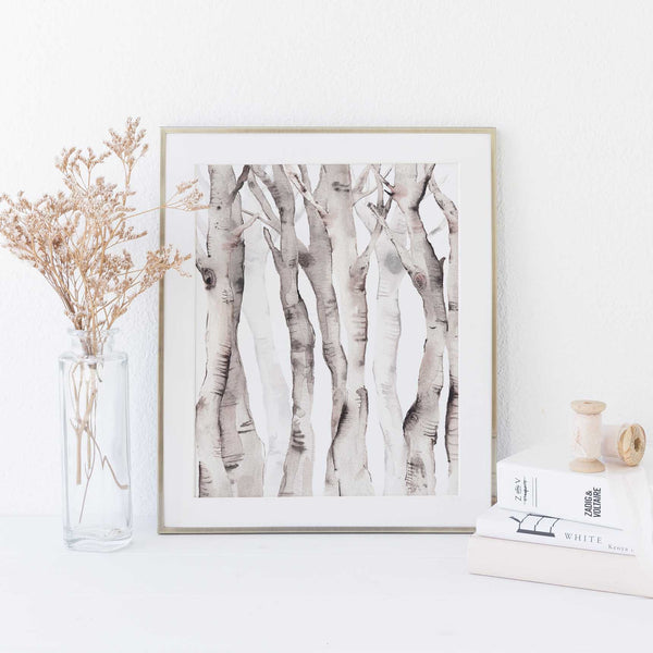 Watercolor Aspen Birch Tree Lodge Wall Art Print or Canvas - Jetty Home