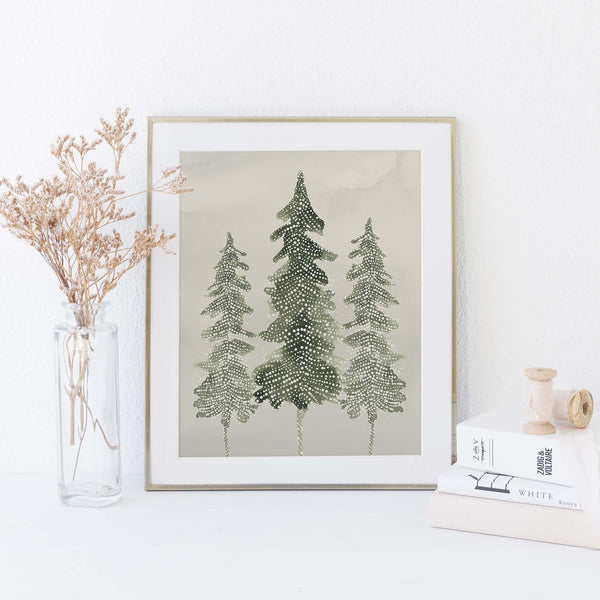 Evergreen Pine Tree Modern Minimalist Forest Wall Art Print or Canvas - Jetty Home