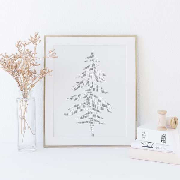 Modern Gray Evergreen Pine Tree Illustration Wall Art Print or Canvas - Jetty Home