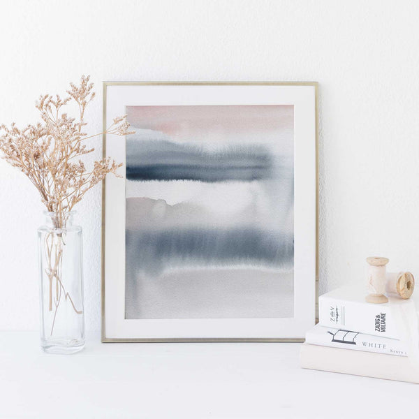 Blue and Pink Watercolor Painting Modern Abstract Nursery Wall Art Print or Canvas - Jetty Home