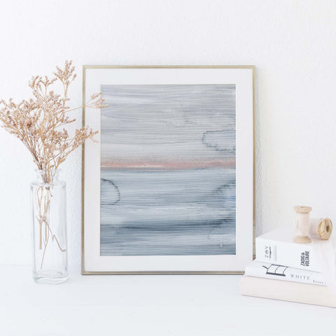 Modern Ocean Abstract Painting Blue, Gray and Pink Wall Art Print or Canvas - Jetty Home