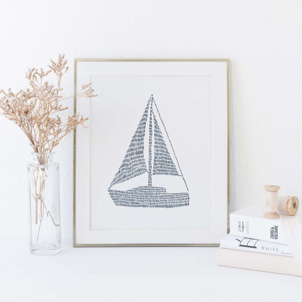 Blue and White Sailboat Nautical Wall Art Print or Canvas - Jetty Home
