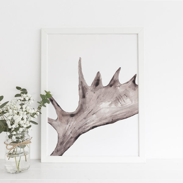 Rustic Moose Antler Cabin Wall Art Print or Canvas - Jetty Home