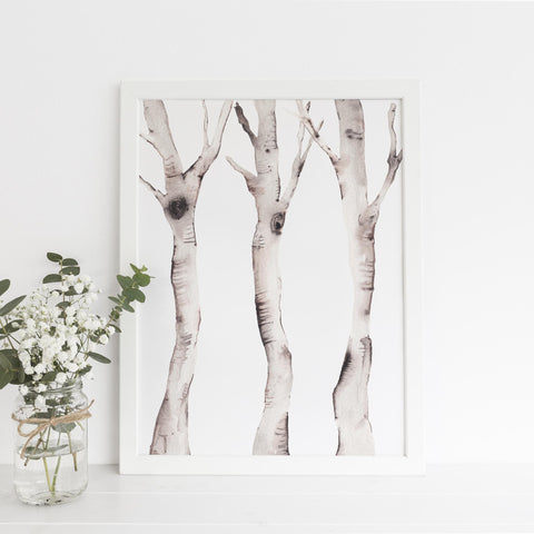 Watercolor Birch Tree Forest Wall Art Print - Jetty Home