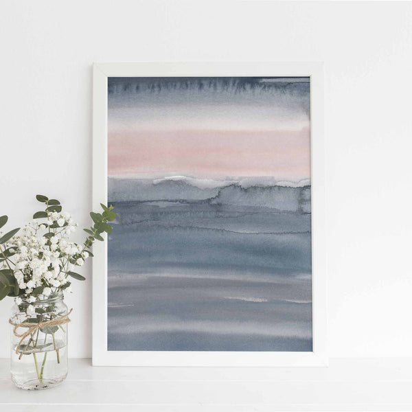 Pink and Gray Beach Abstract Watercolor Painting Wall Art Print or Canvas - Jetty Home